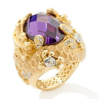 173 246 royal water dragon purple and clear crystal goldtone ring note