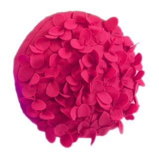 EVAS FLOWER GARDEN PETAL DECORATIVE THROW PILLOW  13 ROUND FUCHSIA