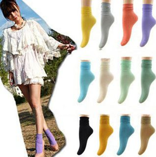 Girls Japan Fashion Candy Color Stacked Vintage Opaque Ankle Socks