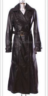 Felicia Black Ladies Womens Leather Full Length Coat