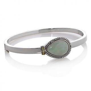 197 416 pear shaped green jade and peridot 7 bangle bracelet with