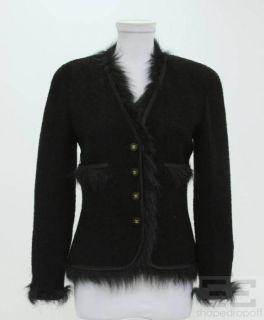 Chanel Boutique Black Wool Faux Fur Trim Cardigan Sweater Size 36 94a