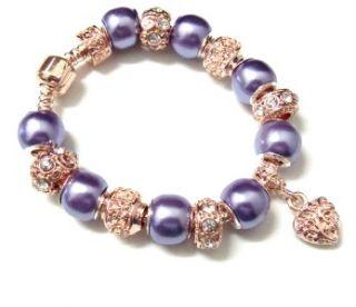 Heart Purple Faux Pearl Bead Child Girl European Charm Bracelet