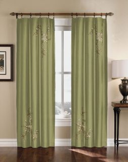 floral embroidered faux silk curtain panel 63 95 inch