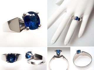 Blue Sapphire Solitaire Engagement Ring Solid Platinum Jewelry