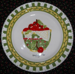 Mary Engelbreit Cherries Jubilee Plate Bowl Full of Cherries 8 3 D