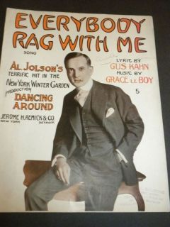 Everybody Rag with Me Al Jolson Sheet Music 1914 Original Art Covers