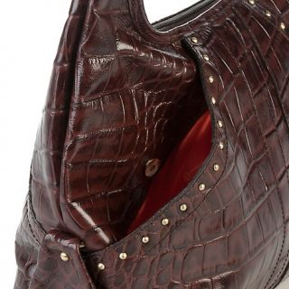 559 192 michael rome michael rome croco embossed leather hobo with