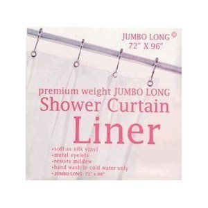 Premium Weight Extra Long 96 Vinyl Shower Curtain Liner Clear Metal