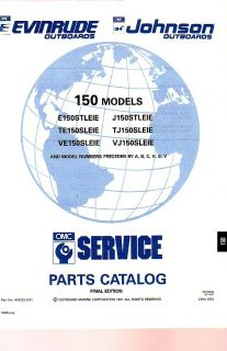 1991 Evinrude Johnson 150 HP Outboard Motor Parts Catalog