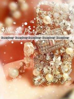Bling Crystal Handmade Cell Phone Cover Case for iPhone 4G 4S Flower