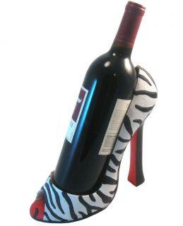 Wild Eye Design Zebra High Heel Shoe Wine Bottle Holder