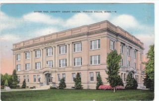 Fergus Falls MN Otter Tail County Courthouse Court House Old Postcard