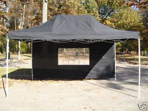 Black 10x15 EZ Pop Up 4 Wall Canopy Party Tent Gazebo