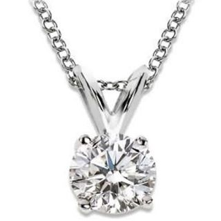 52 CTW F Color Natural Diamond Solitaire Pendant in 14k White Gold