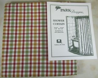 Red Ivory Mustard Sage Green Plaid Picket Fence Cloth Shower Curtain