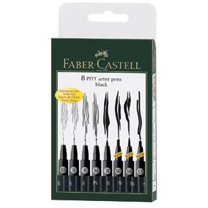 FABER CASTELL PITT 8pc Black Assorted Nib Artist Pen Set   Art Drawing