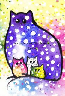ACEO Original Polka Dot Kitty Family Abstract Cat Art