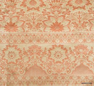 Fabric Hand Woven Floral Indian Craft Wall Home Decor Art Cream