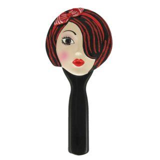 Hand Mirror Awake Face Brunette Red Headband Makeup