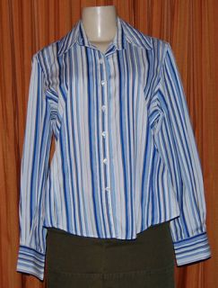 Faconnable Long Sleeve White Blue Brown Cotton Stripe Shirt Ladies