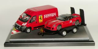 UNIQUE DSM DIORAMA FERRARI 599XX ON TOW TRAILER WITH FIAT DUCATO MAXI