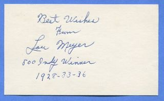 Auto Racing Signed 3x5 Card Lou Meyer Indy 500 3X Winner