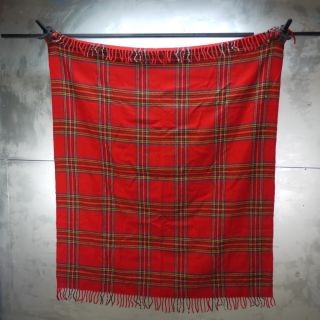 Vintage Faribo Faribault Wool Blanket Red Tartan Plaid Woolen Mill