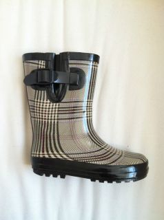 Henry Ferrera Black Beige Plaid Kids Boys Girls Rubber Rain Boot Youth