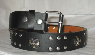 Black Leather Goth Punk Iron Cross Stud Belt Mens or Ladies L Last One