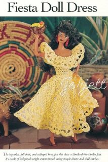 Fiesta Dress Crochet Pattern Fits Barbie Fashion Dolls