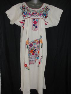 Mexican Oaxacan Vintage Peasant Tunic Dress Colorful Hand Floral
