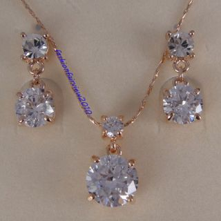 18K Rose Gold GP Swarovski Crystal Studs Earrings Necklace Jewelry Set