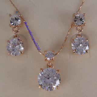 18K Rose Gold GP Swarovski Crystal Studs Earrings Necklace Jewelry Set