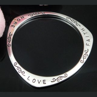 Vogue Jewelry Silver Hope Faith Love Silver Bangle Womens Bracelet