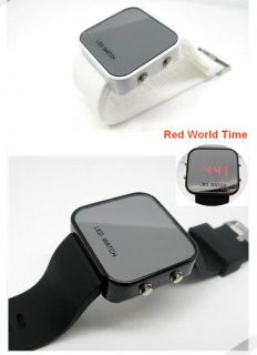 Electronic Calendar Mirror Face LED Silicone Man Digital Wrist Watch