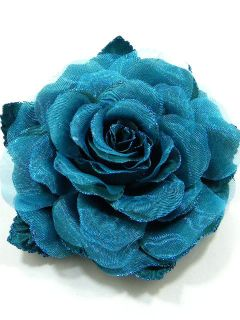 Large Fabric Rose Flower Brooch Pin CDA4 Blue 4184
