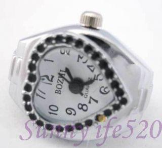 Charming Silver Mens Lady Women Finger Ring Watch Black