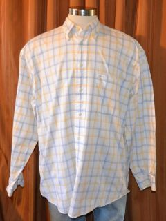 Faconnable Long Sleeve Yellow White Blue Cotton Checkered Plaid Shirt