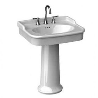 001 White Savina 27 Pedestal Fire Clay Bathroom Sink with 8 C