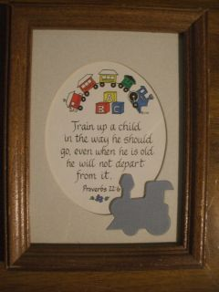Toddler Boy Train Picture in Frame with Bible Verse Proverbs 22 6