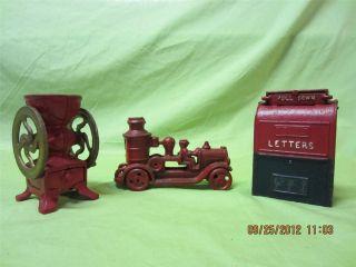 Vintage Cast Iron Toys JM 213 Fire Truck Mailbox Coffee Grinder