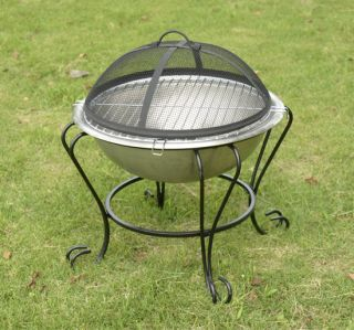 New Deluxe Patio Mini Fire Pit Stainless Steel Stove BBQ Grill
