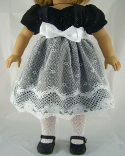 Doll Clothes Fits American Girl Fancy Dress Black Shiny Bodice White