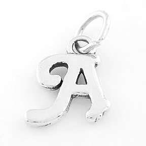 Sterling Silver 925 Fancy Letter A Charm Pendant