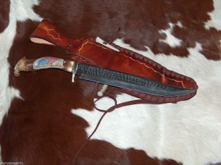 BOWIE KNIFE KEN RICHARDSON CUSTOM MADE IN USA CROWN HORN CARVED OLD