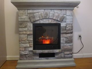 Infrared Electric Fireplace Heater with Stone Look Frame Portable