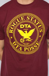 DTA   Rogue Status The Chain Crest Tee in Burgundy and Yellow