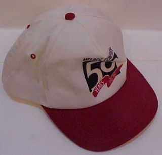 Melroe farm equipment Company 1997 red white baseball cap hat 50th