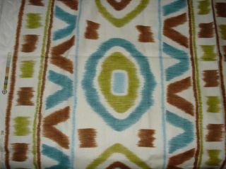 THOM FILICIA PROSPECT WHITE BROWN GREEN MODERN IKAT PRINT LINEN FABRIC